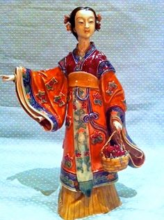 True Antique Shiwan Chinese Ceramic Lady Figurine- Oriental Lady Gathering Fruit.