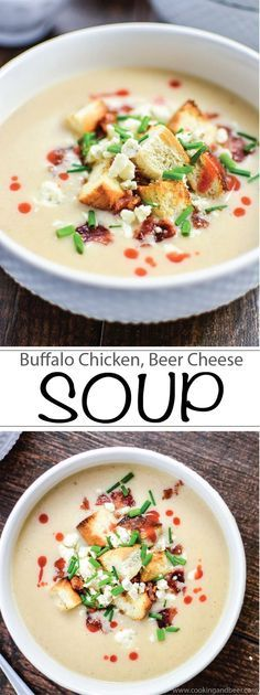 Buffalo Chicken Beer Cheese soup is perfect for lunch or dinner! | www.cookingandbeer.com