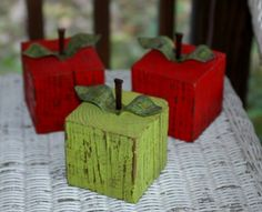 Block Red Apple Primitive Eco Friendly Home Office Decor Wood Paperweight Fruit Table Accent. $14.00, via Etsy.