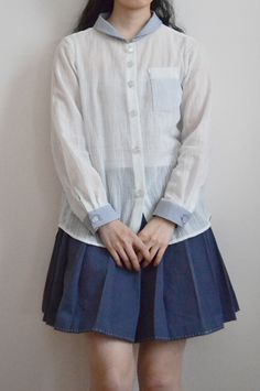 semi-transparent shirt and pleated skirt by Minus Sun