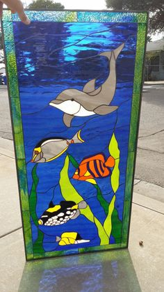 Dolphin & Fish Stained Glass leaded Window panel