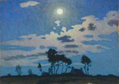 Charles Guilloux x « Arbrealettres Nocturne, Landscape Art, Landscape Paintings, Moonlight Painting, Art En Ligne, Art Et Illustration, Art Techniques, Oeuvre D'art, Painting Inspiration