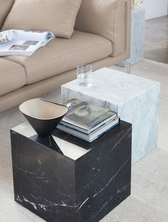Pair Of Negro Marquina Spanish Marble Cube Side Tables By Pace - Marble cube coffee table