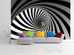 Removable Wallpaper Mural Peel & Stick 3D Spiral by uniQstiQ on Etsy