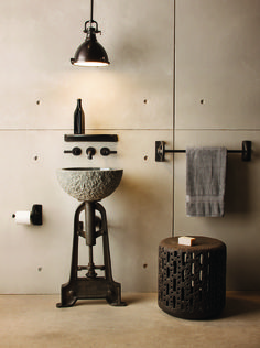 Stone Forest's Industrial Pedestal collection, available 2015. Featuring our Danville pendant #industrialbathroom #industrial
