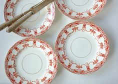 4 ornately patterned plates, probably probably Tuscan China from England based on the design but they have no stamp. Red Plates, Vintage China, 1950s, Decorative Plates, England, Stamp, Unique Jewelry, Tableware, Handmade Gifts