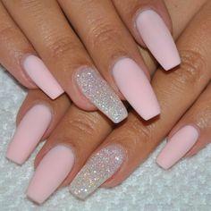 Matte pink coffin nails with silver glitter accent