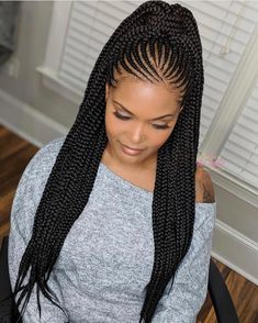 Cute Braids Styles Make Your Look Attractive - Cute Braids Styles Make Your Look Attractive Versatile And Modish Ladies Waist Length Tribal Braids Can Be Worn Multiple Ways Feed In Braids Ponytail Long Braids Braided Ponytail Braid Hair L Box Braids Hairstyles, African Braids Hairstyles Pictures, Braided Ponytail Hairstyles, Braided Hairstyles For Black Women, Ponytail Ideas, Short Hairstyles, Hairstyles For African Hair, Cornrolls Hairstyles Braids, African American Braided Hairstyles