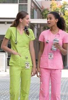 Give your medical wardrobe a different look each day when you shop the Dickies Everyday Signature collection!This soft & beautiful scrub top is a junior fit, empire waist mock wrap that will flatter your figure and keep you looking professional. Cute Nursing Scrubs, Cute Scrubs, Nursing Clothes, Healthcare Uniforms, Medical Uniforms, Scrubs Outfit, Scrubs Uniform, Scrubs Pattern, Stylish Scrubs