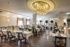 Restaurant at the Falkensteiner Hotel Grand MedSpa Marienbad, Czech Republic Medical Spa, Spa Treatments, Hotel Spa, Czech Republic, Modern, Restaurant, Table Decorations, Furniture, Home Decor