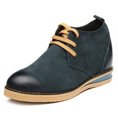 Dark Blue  best shoe lifts 8cm / 3.15inch with the SKU:MENGOG_53568 - British Dunk High Elevator Casual Shoes add altitude 8cm / 3.15inches Nubuck Leather Walking Shoes