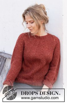 On the blog: Fall/Winter 2020/2021 Knitting Trends Drops Design, Knitting Patterns Free, Free Knitting, Crochet Patterns, Amur Maple, Magazine Drops, Crochet Diagram, Work Tops, Stockinette
