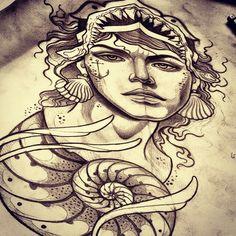 Mermaid tattoo - artist? Drawings Pinterest, Tattoo Inspiration, Blackwork, Tattoo Artists, Body Art, Mermaids, Ink, Tattoos, Seahorses