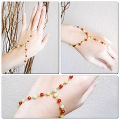 Slave Bracelet Ring with Orange Beads Stone, Hand Link Chain | GoldenWorld - Jewelry on ArtFire