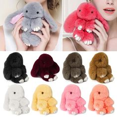 915891fe8e1 Rex Rabbit Fur Cute Bunny Pom Ball Doll Toy Keychain Charm Handbag Pendant  Decor