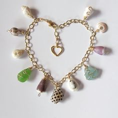 Hawaiian Shell Bracelet, Charm Bracelet, Gold Heart, Shell Jewelry, Sea Glass, Puka Shell, Valentine Gift For Her