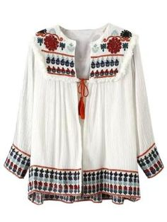 Shop White Floral Embroidery Tassel Tie Front Ruched Cardigan from persunmall.com .Free shipping Worldwide.