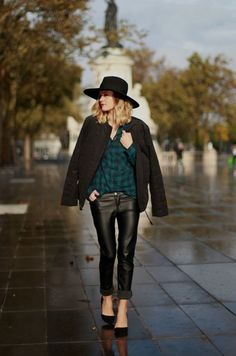 leather pants hat streetstyle httpwwwvidedressingus