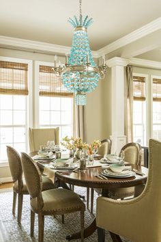 dining room with turquoise chandelier | Harper Howey Interiors