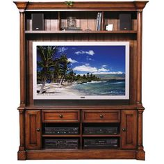 "RC Willey - Oak Furniture West ""Sorrento"" Collection 2-Piece Entertainment Center Between window option."