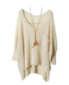 Open Knit Batwing Sweater