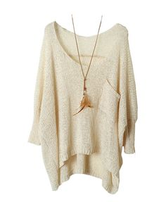 Open Knit Batwing Sweater