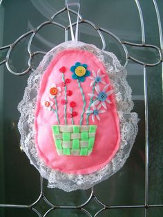 Lace trimmed felt Easter egg wall hanging