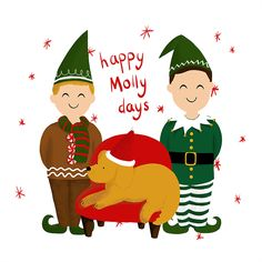 Custom Christmas card elf illustration - art by Waffle and Bear Illustrations