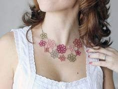 gift for her  tatted floral necklace  asymmetrical lace by smaks
