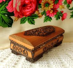 Vintage Wooden Box Handmade Carved Copper Incrusted Jewelry