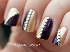 Day Metallic Nails with golden round studs. Get Nails, Love Nails, How To Do Nails, Creative Nail Designs, Creative Nails, Fall Pedicure, Pedicure Ideas, Color French Manicure, Manicure Steps