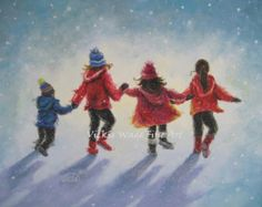 Four Snow Children Original Oil Painting 14X18 three sisters, little brother, four children paintings, winter blue wall art, Vickie Wade