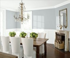 Look at the paint color combination I created with Benjamin Moore. Via @benjamin_moore. Wall: Silver Lake 1598; Trim & Wainscot: Distant Gray 2124-70; Ceiling: Distant Gray 2124-70.