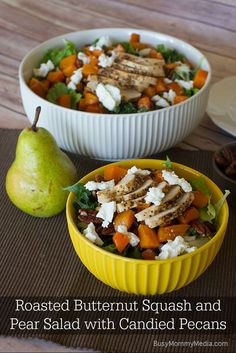 Roasted Butternut Squash and Pear Salad with Candied Pecans | Hashtag ...