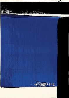 Blue abstract art by Pierre Soulages Tachisme, Contemporary Abstract Art, Modern Art, Yves Klein, Blue Art, Oeuvre D'art, Graphic, Art World, Abstract Expressionism