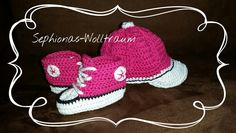 Gehäkelte Baby Turnschuhe Sneaker Chucks Converse crochet knitting Baseball Cap