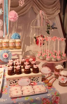 Pretty desserts at a shabby chic birthday party! See more party planning ideas at CatchMyParty.com!