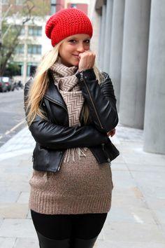 maternity fashion - leather jacket, biker boots, leggings, extra long sweater, chevron scarf