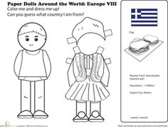 First Grade Paper Dolls Community & Cultures Worksheets: Paper Dolls Around the World: Europe VIII