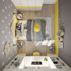 Yellow kids rooms - Yellow Kids' Rooms How To Use & Combine Bright Decor Yellow Kids Rooms, Yellow Bedrooms, Girls Bedroom, Bedroom Decor, Kid Bedrooms, Dispositions Chambre, Dressing Room Design, Bright Decor, Stylish Bedroom