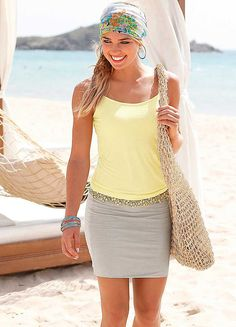 Beachtime Yellow & Sand Summer Dress