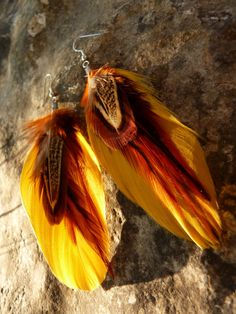 feather earrings in fall colors