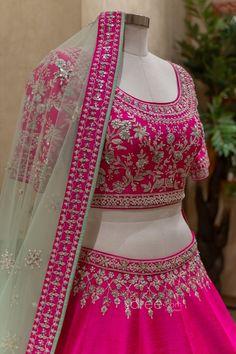 Raw Silk Lehenga, Bridal Lehenga Choli, Saree Wedding, Indian Wedding Outfits, Indian Outfits, Indian Dresses Online, Saree Blouse Patterns, Festival Wear, Gowns