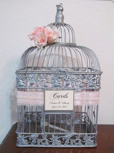 $76.72 Wedding Card Box / Vintage Style Wedding Card Holder / Pearls and lace  / Silver Birdcage Wedding Card holder