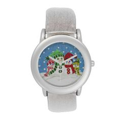 Snowman family glitter watch .