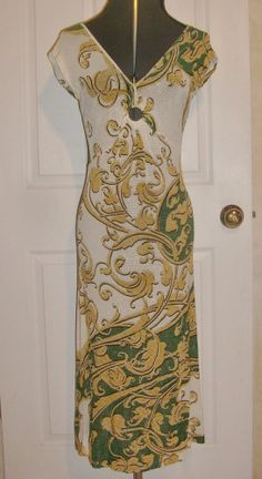 JUST CAVALLI Dress by ROBERTO CAVALLI Green Gold Baroque Summer Sizzle! 42