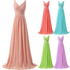 Long Chiffon Homecoming Party Dress Bridesmaid Formal Beach Prom Gowns Pleated  #GraceKarin #BallGown #Cocktail