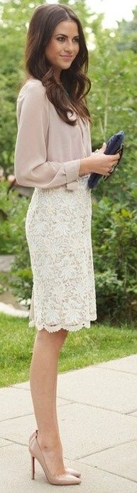 Nude blouse; Ivory lace pencil skirt; Nude heels and clutch