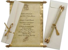 "Ornate, scroll wedding invitation, for those who like to make a statement - or declaration...""Hear ye!"""