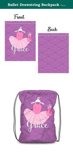 Ballet Drawstring Backpack - Purple Damask Tutu Ballerina Bag. 1 Personalized Drawstring Backpack - makes a Great Kids Gift ~ I Design and Customize, You Give the Perfect Gift! ~ A Personalized Backpack is perfect for a kid on the go! Pack your swimsuit and towel for the beach, Tutu and leotards for ballet, dance or gymnastics, Clothes and blankie for a sleepover at Grandma's. Whatever you need to pack, keep it all in one place with this custom backpack. This is perfect for all ages and...